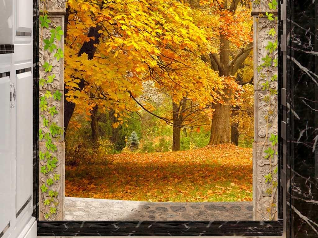欧式拱门秋天树林风景3d玄关