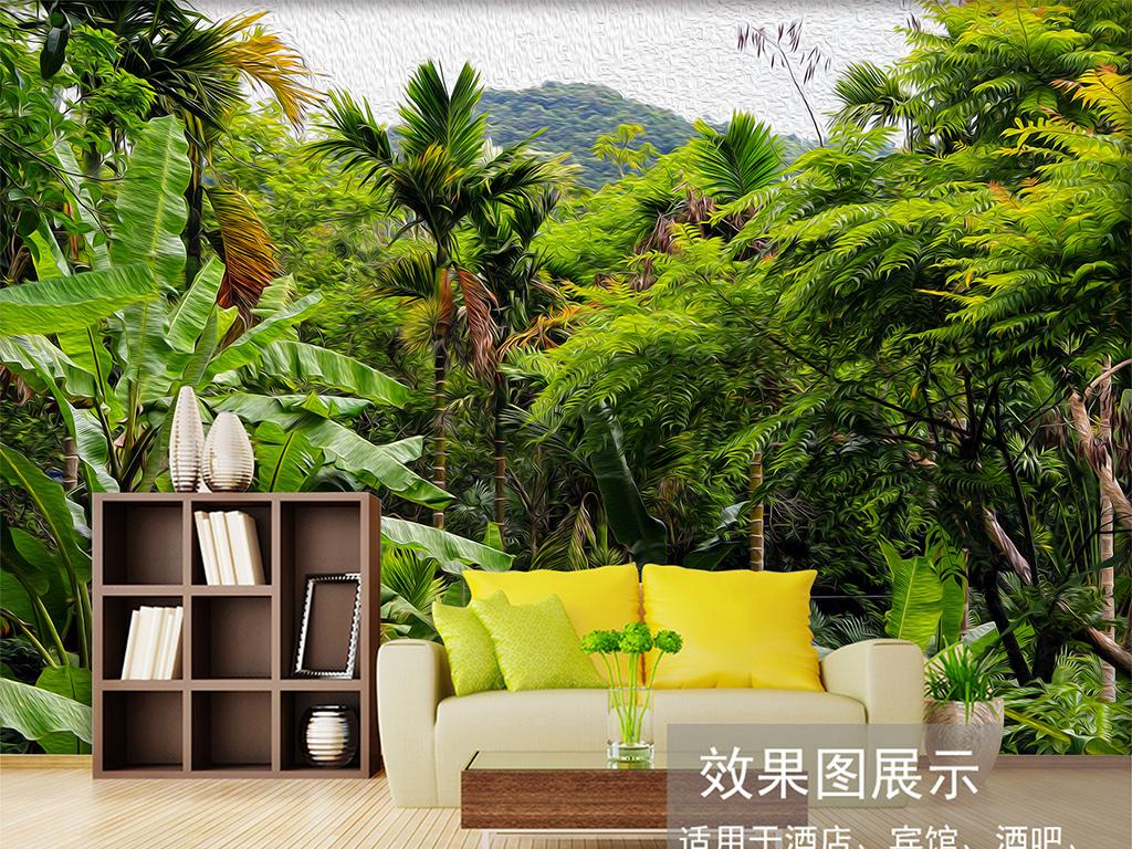 复古热带雨林大型宽幅工装椰子树背景墙图片