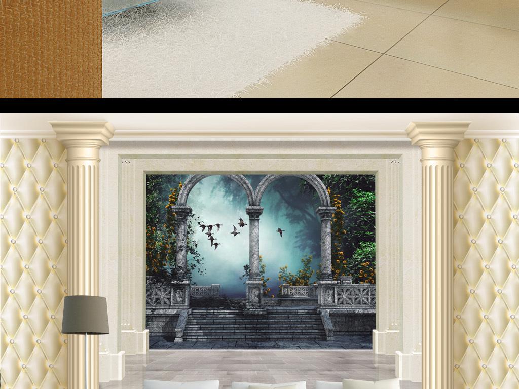 欧式大厅软包立柱宫殿楼梯背景墙图片