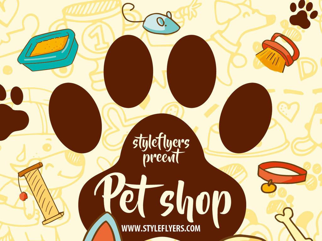 卡通漫画可爱宠物店海报psd模板图片