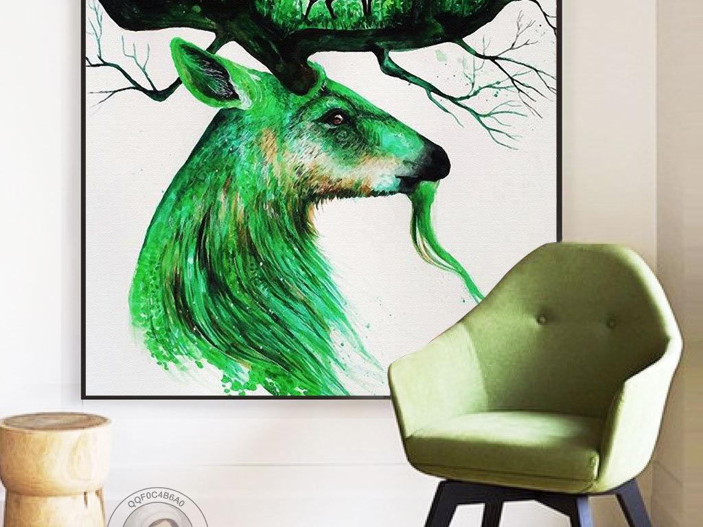 唯美大气手绘森林麋鹿无框画