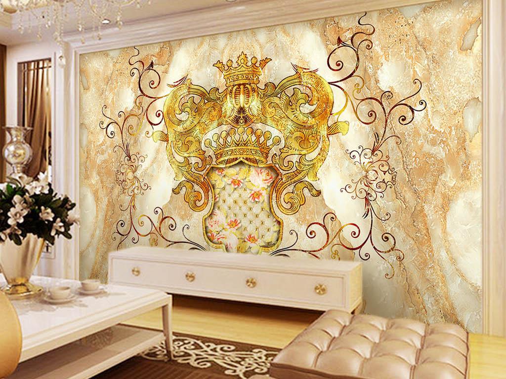 欧式皇家风格花纹大理石纹拼花背景墙