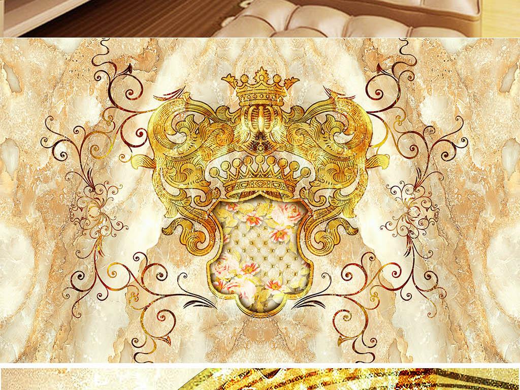 欧式皇家风格花纹大理石纹拼花背景墙(图片编号:)