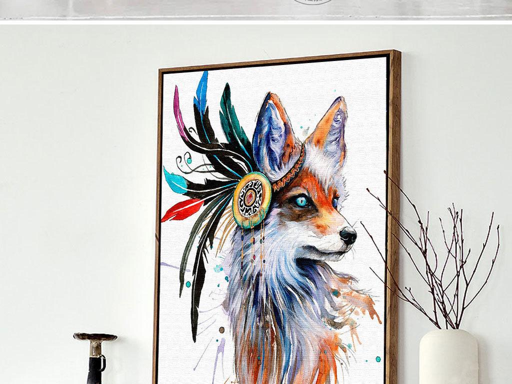 羽毛唯美                                  彩色羽毛手绘狐狸
