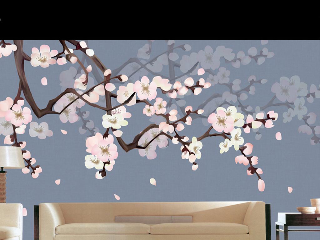 中式手绘梅花背景墙