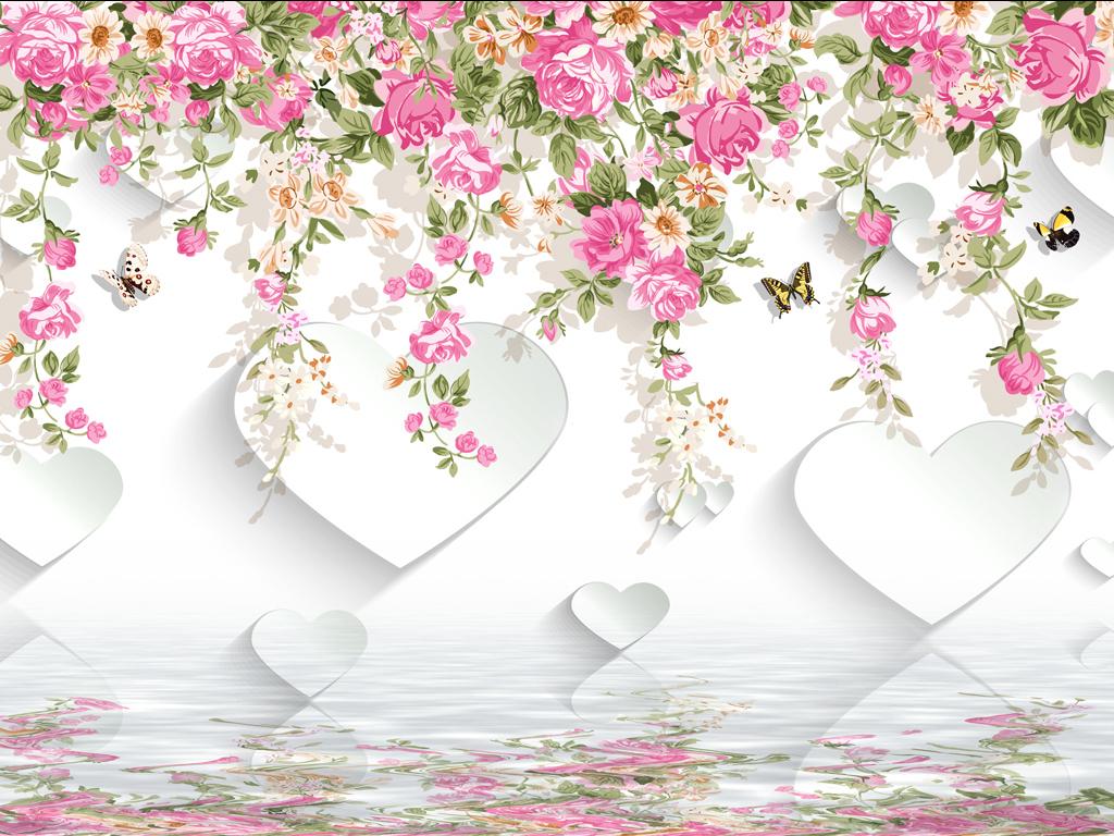 欧式手绘花卉清新时尚背景墙(图片编号:15814617)