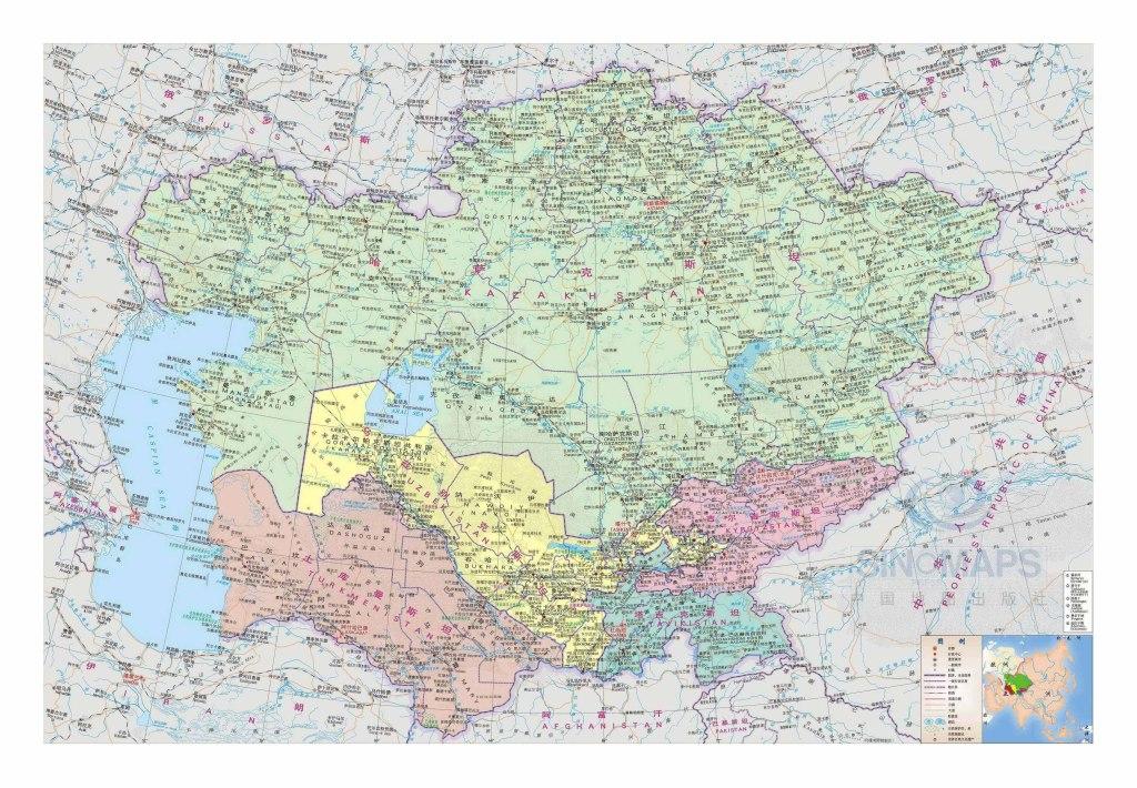 中亚五国地图