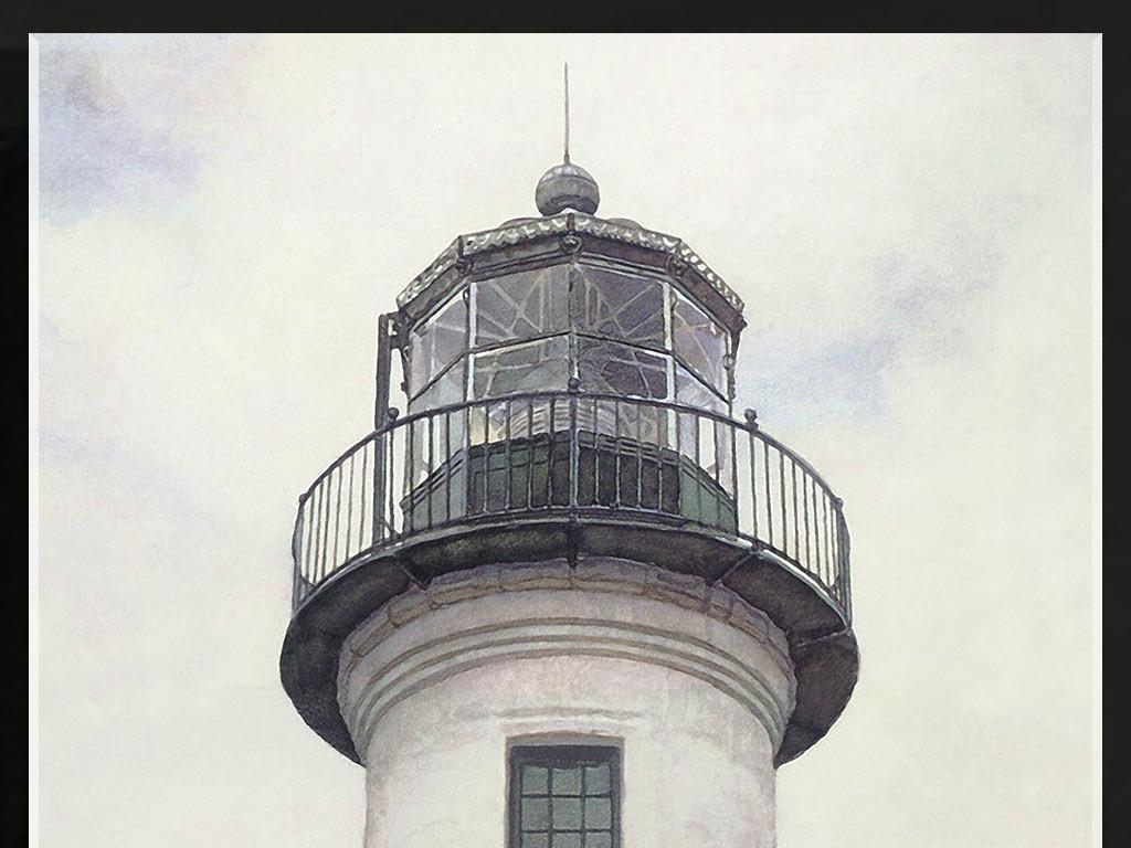 灯塔房子复古欧式风景怀旧艺术玄关装饰壁画