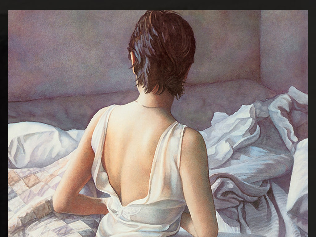 脱衣服睡觉西方美女手绘水彩装饰玄关画