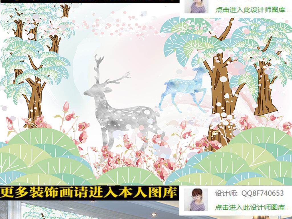 清新儿童背景墙卡通背景墙树林背景抽象背景抽象简约北欧抽象梅花鹿