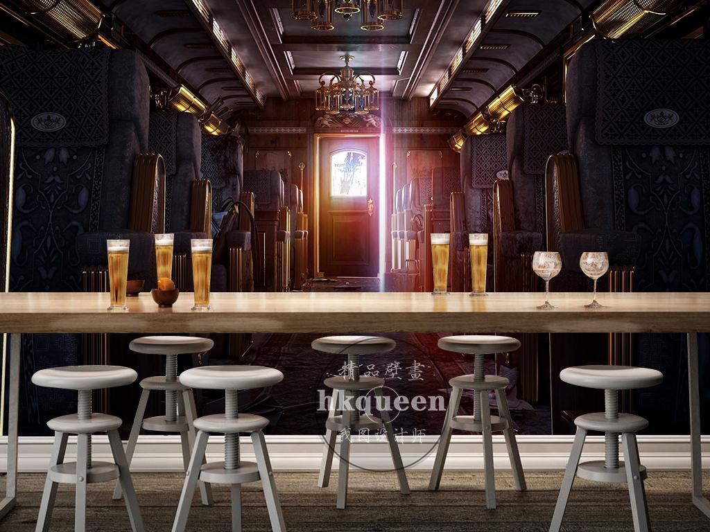 欧式复古大气机舱走廊座椅古典工装背景墙