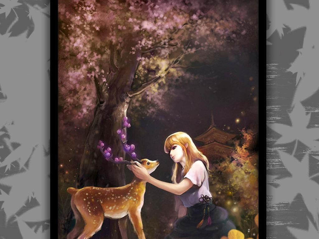 夜空樱花树下梅花鹿女孩治愈系水彩装饰画