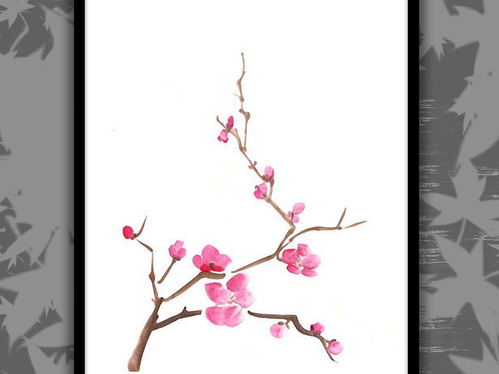 简约新中式梅花手绘水彩极简主义复古装饰画