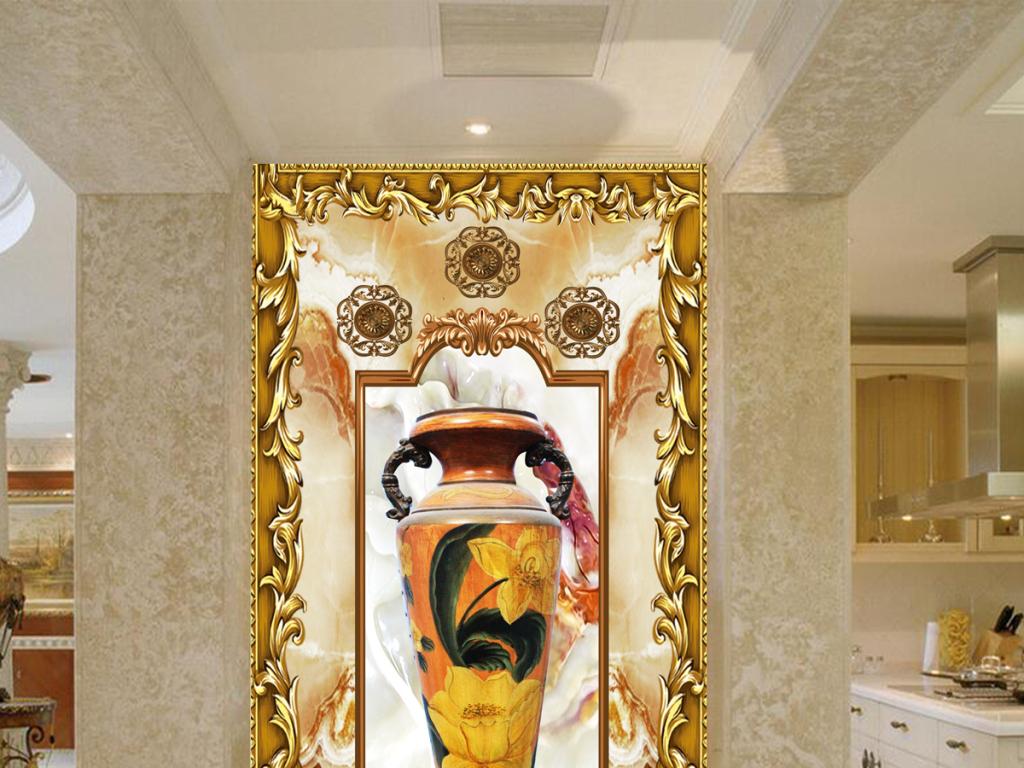 欧式花纹花瓶玄关背景墙