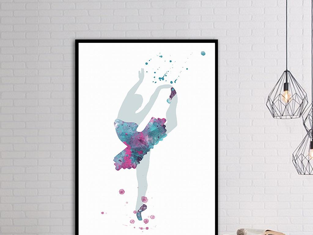 欧式手绘美女人物舞蹈彩色水墨装饰画