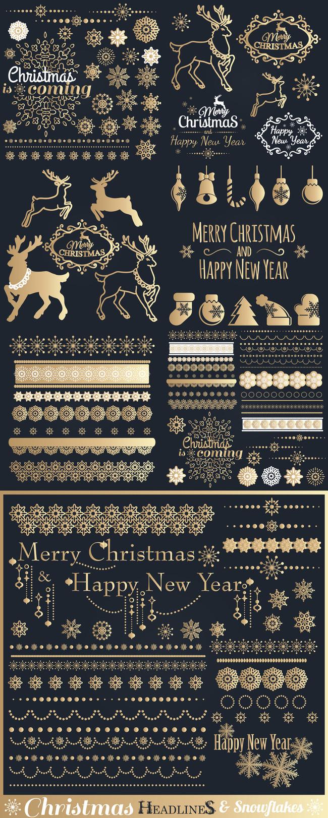 高档圣诞节烫金图案花纹eps矢量素材