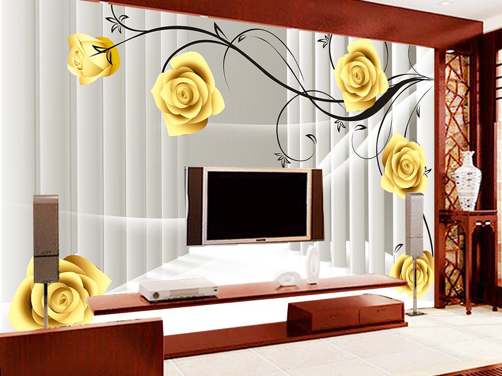 欧式罗马柱空间玫瑰花藤3d立体电视背景墙