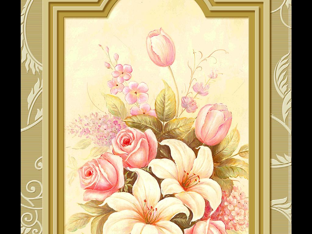 手绘插画白百合百年好合香槟玫瑰花篮花瓶时尚背景墙