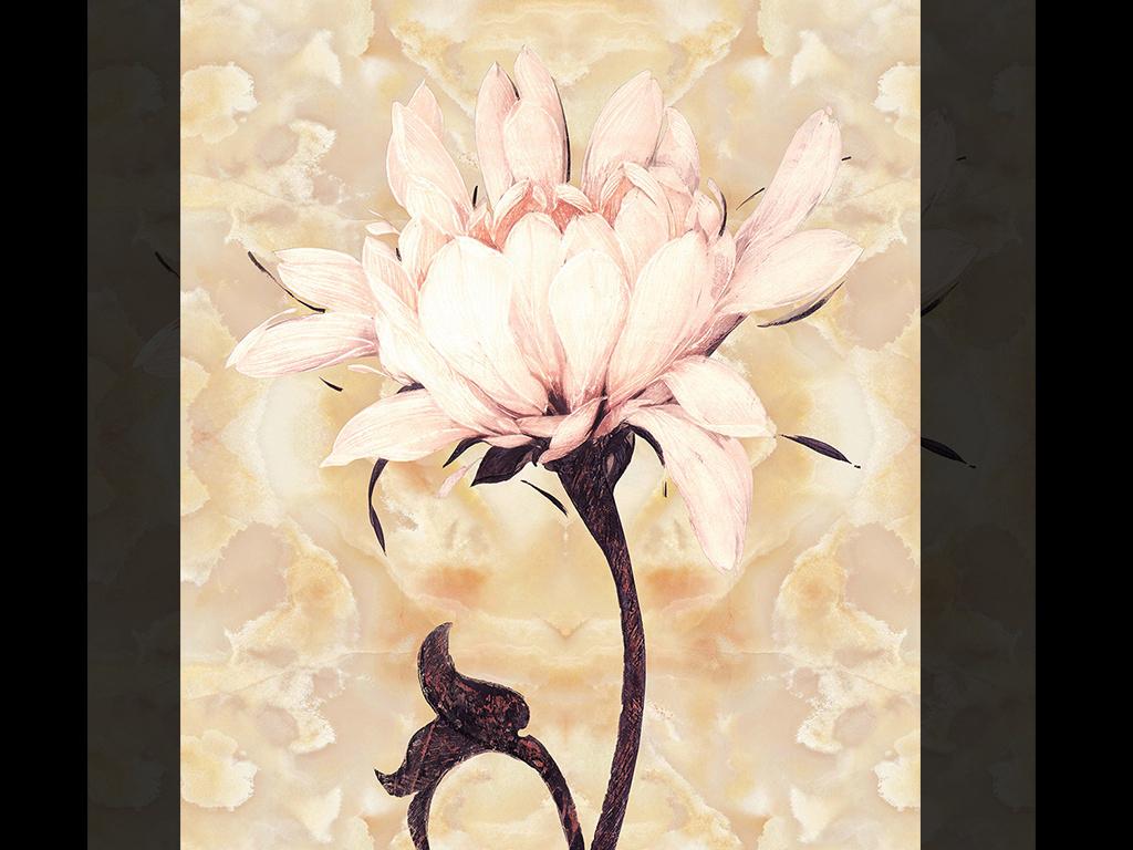 简约唯美油画手绘花卉大理石玄关