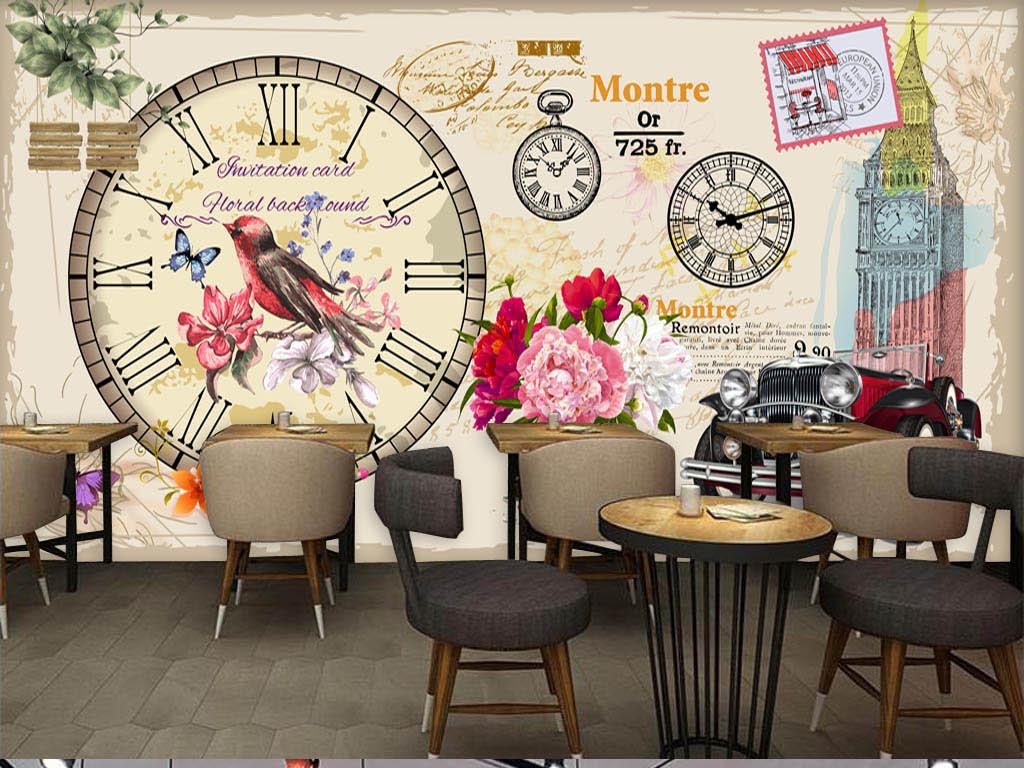 砖墙手绘咖啡店酒吧西餐厅手绘