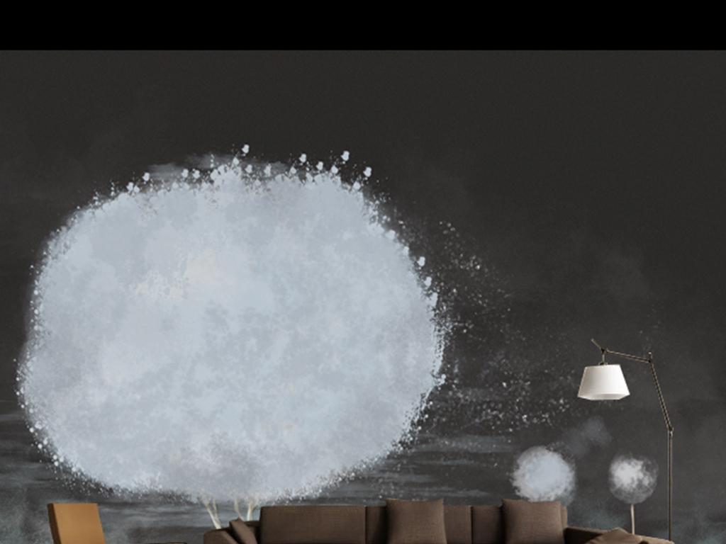 手绘黑白简约棉花树背景墙