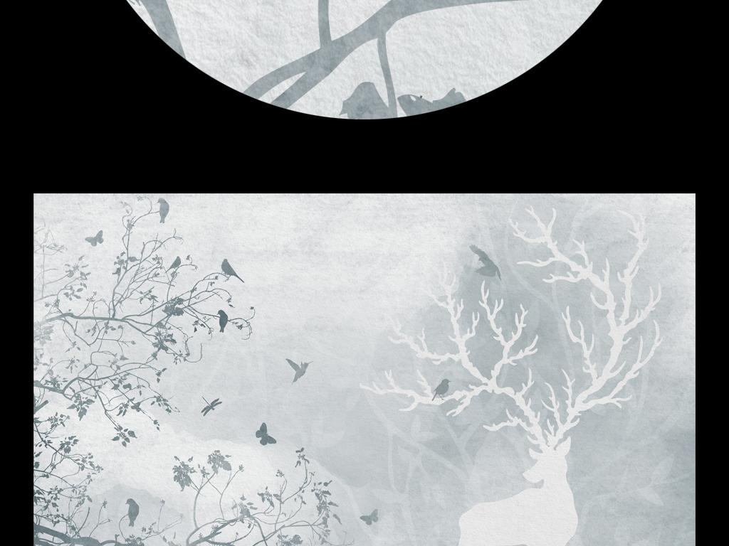森系森林小鹿麋鹿复古树林小清新飞鸟鹿角黑白水墨欧式现代简约北欧麋图片