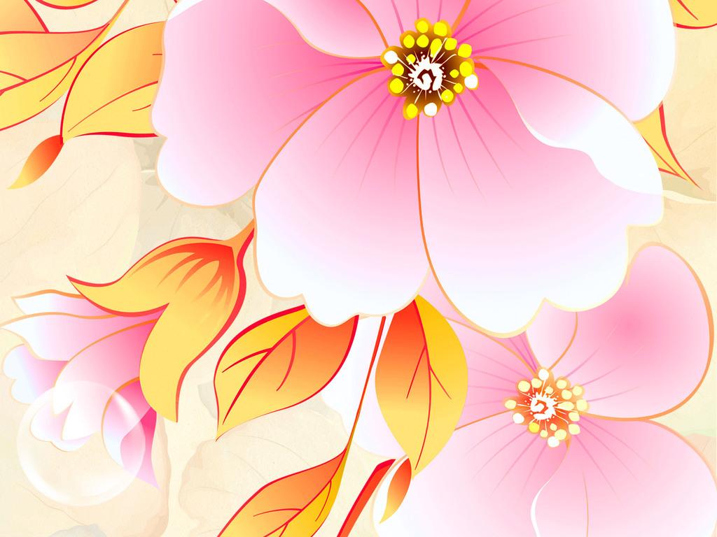 梦幻手绘粉色花朵电视背景墙