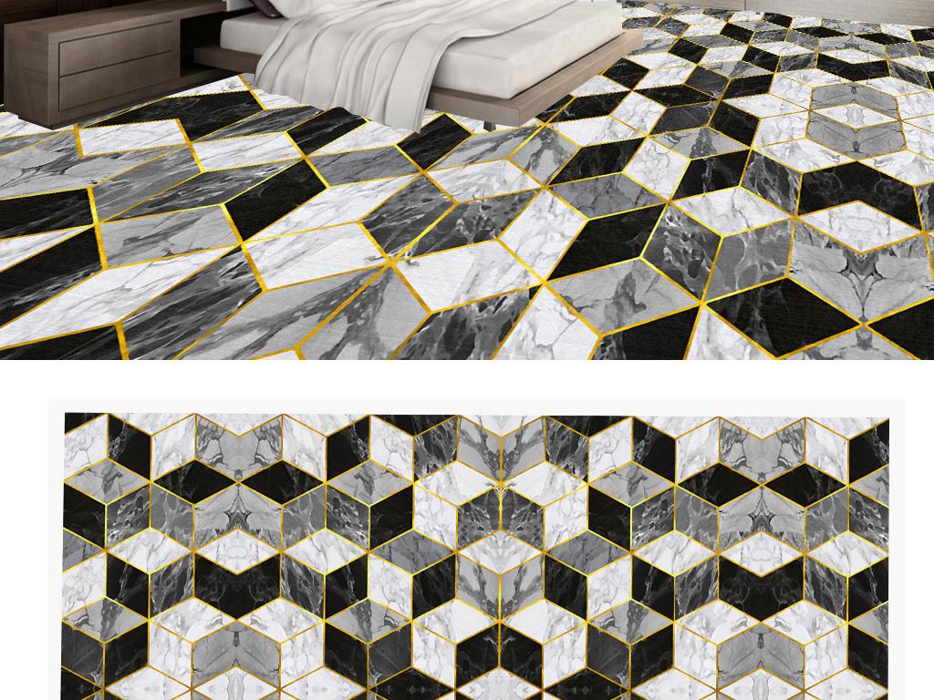 酒店大厅艺术瓷砖拼花石纹洗手间3d地板