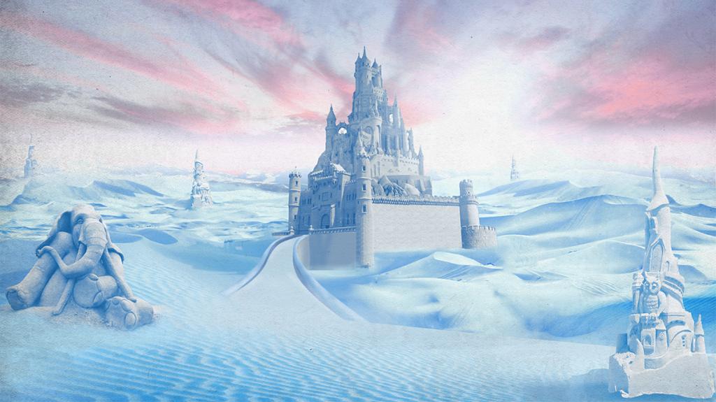 冰雪城堡手绘电视背景墙