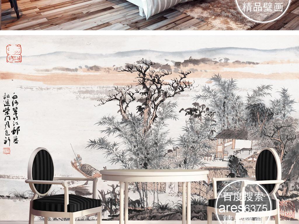 水墨国画松树松树山水画松树素材松树国画松树叶子松树装饰画松树画