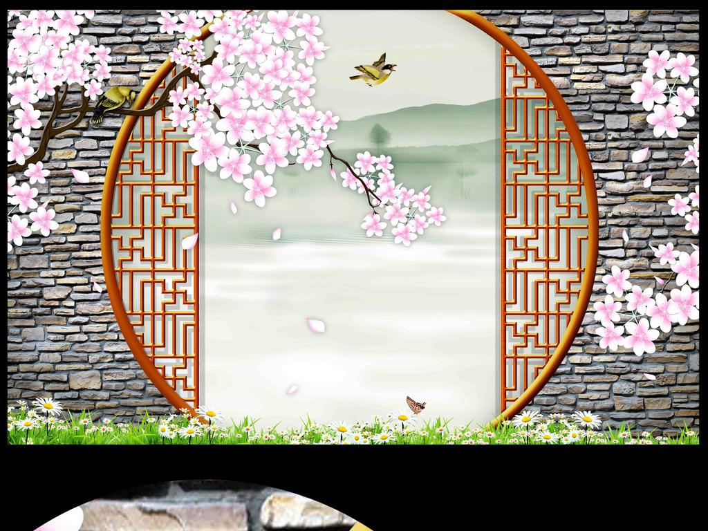 中式背景墙手绘高清分层3d背景巨幅中式背景原创迎客
