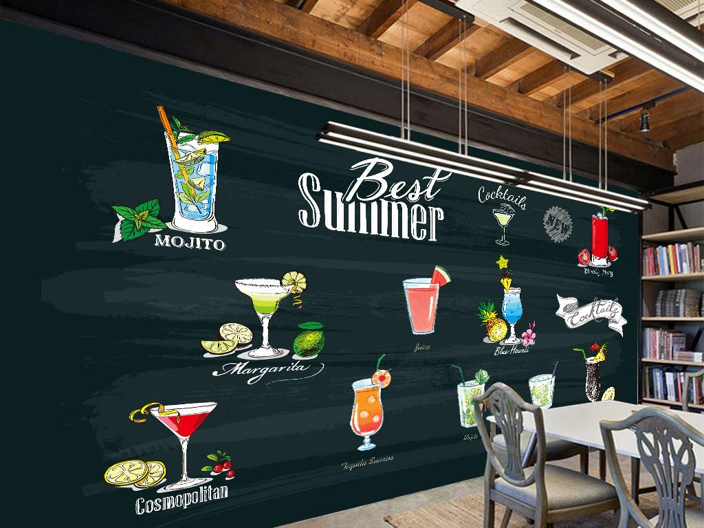 夏季饮料甜品店手绘背景墙装饰画