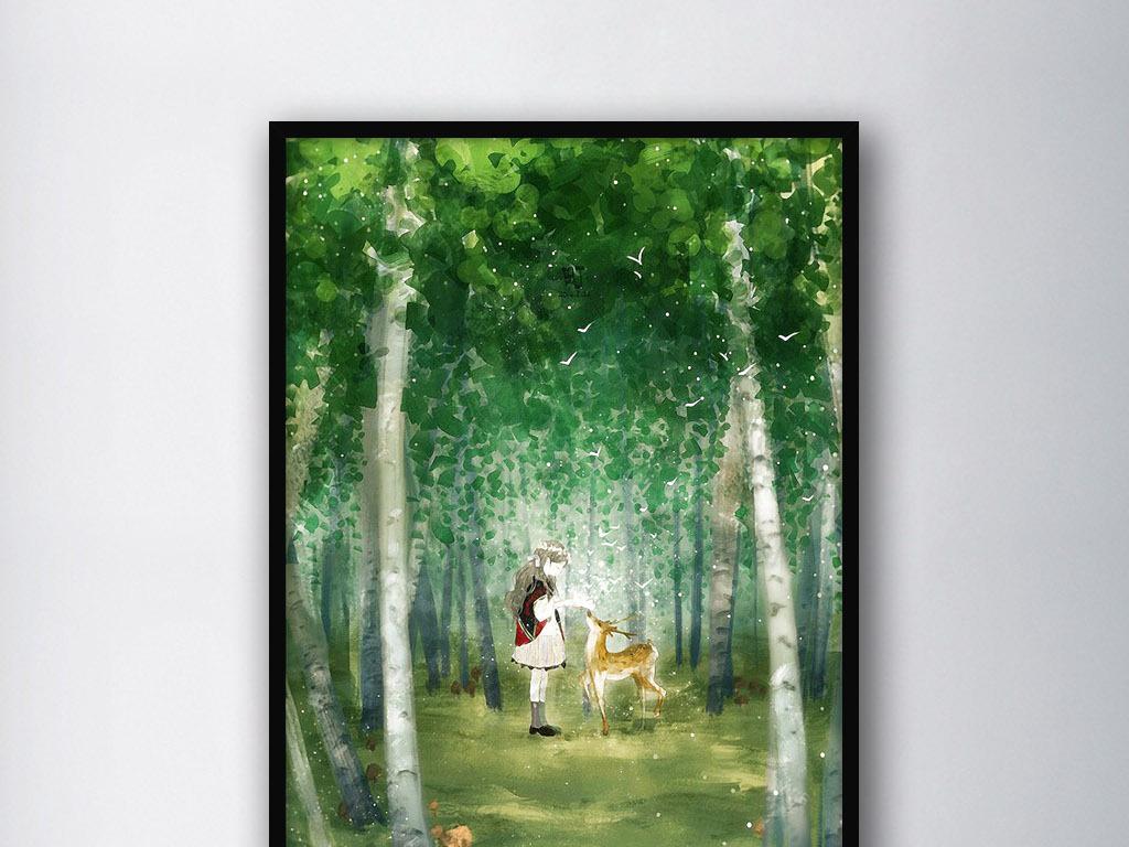 手绘小清新唯美森林麋鹿森林森林公主绿色森林森林风景卡通森林森林