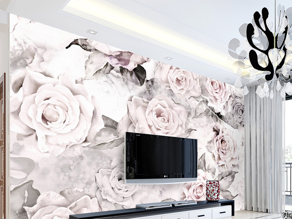 复古田园手绘玫瑰花电视背景墙壁画