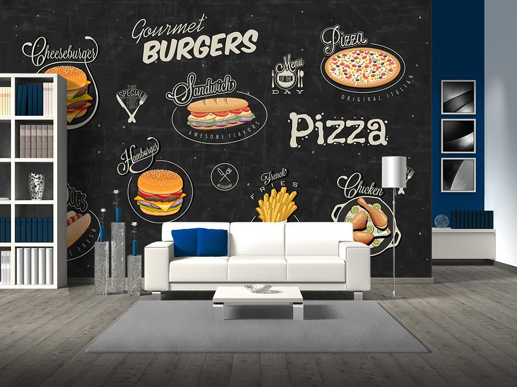 手绘文化墙艺术画电视墙壁纸墙纸壁画背景墙背景墙手绘手绘背景披萨背