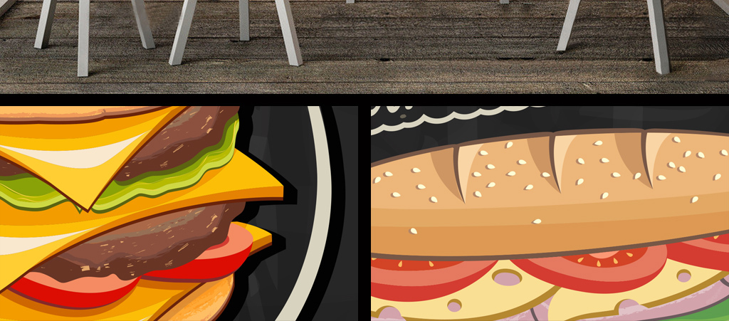 手绘汉堡披萨店背景墙背景画