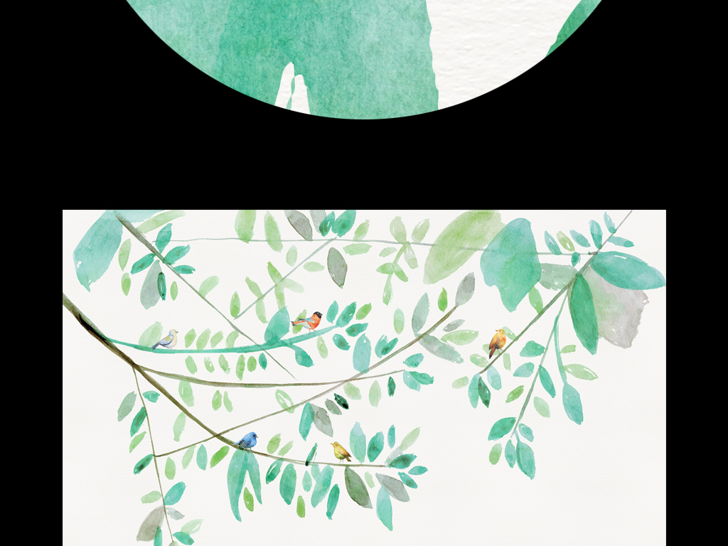 森系森林复古树林小清新飞鸟小鸟树枝抽象水彩手绘北欧简约像素像素