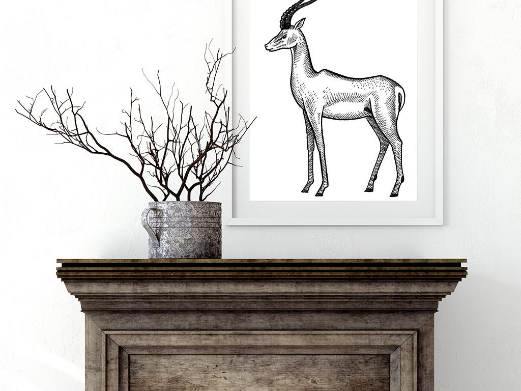 非洲动物手绘素描黑白装饰画无框画