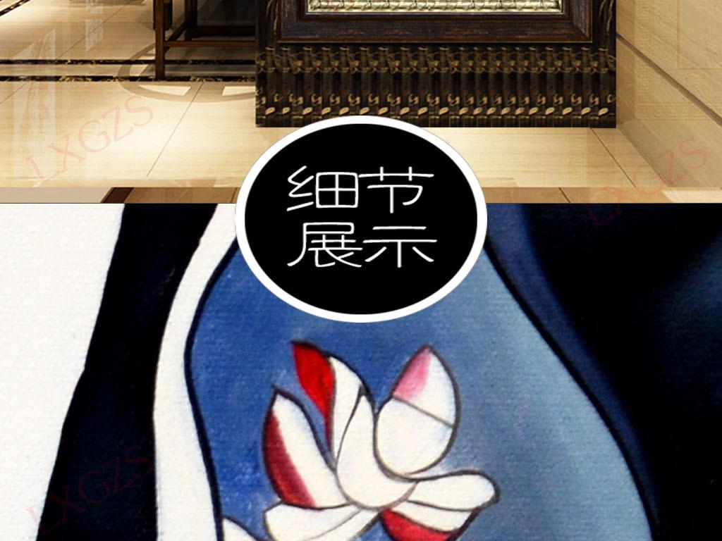 手绘小花狗客厅装饰画