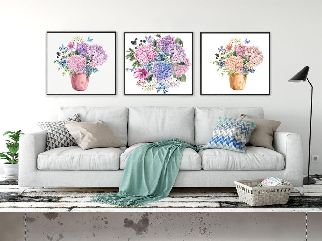 唯美手绘花朵花瓶蝴蝶树叶无框画