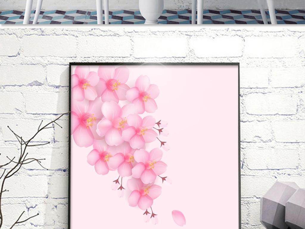 粉色手绘浪漫樱花无框画