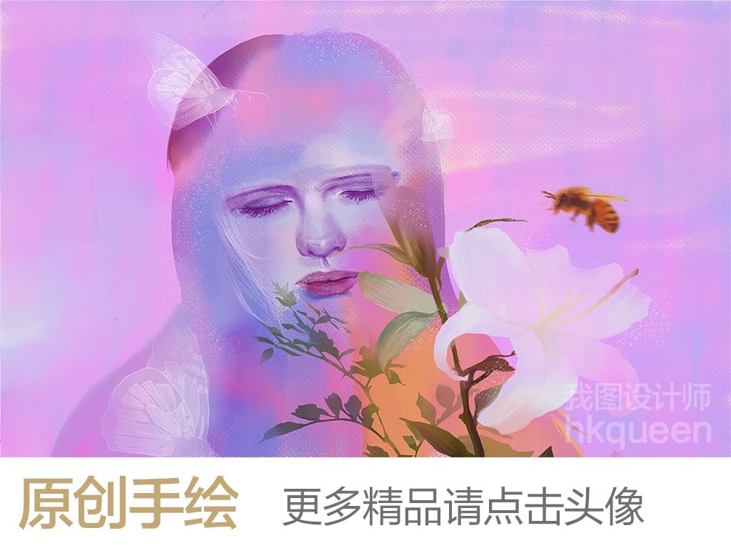 现代简约梦幻水彩手绘美女蝶恋花背景墙