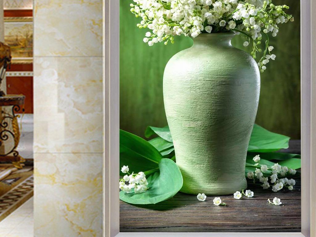 欧式复古白丁香花瓶3d玄关背景墙