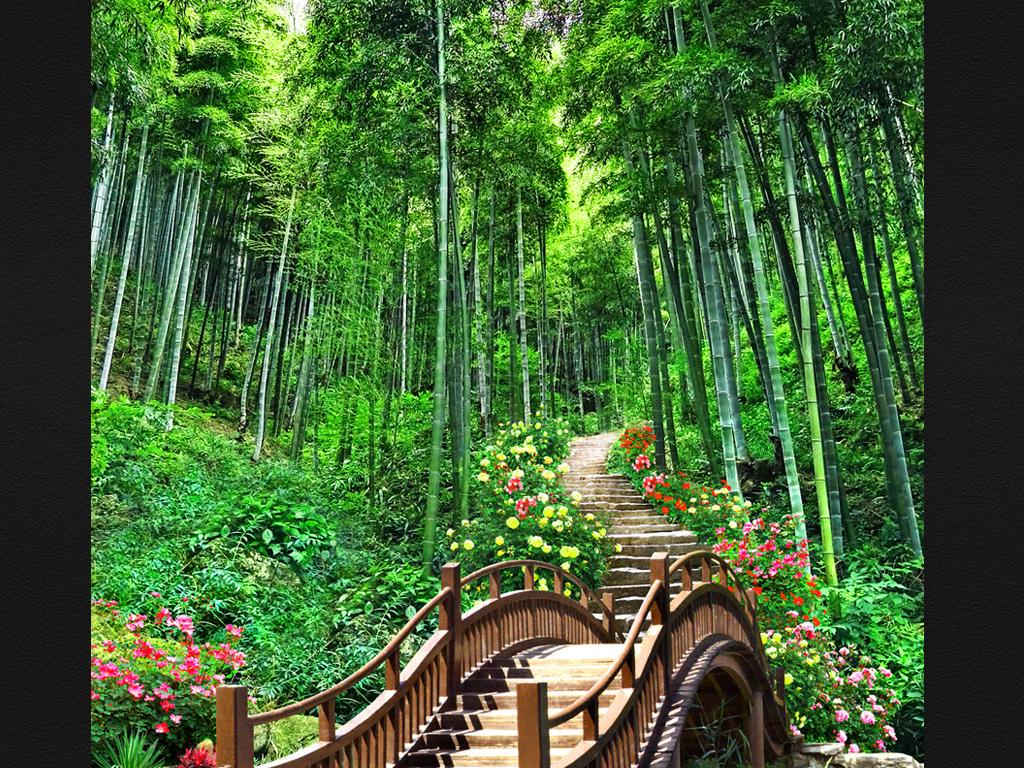 山水风景竹林花卉玄关装饰画