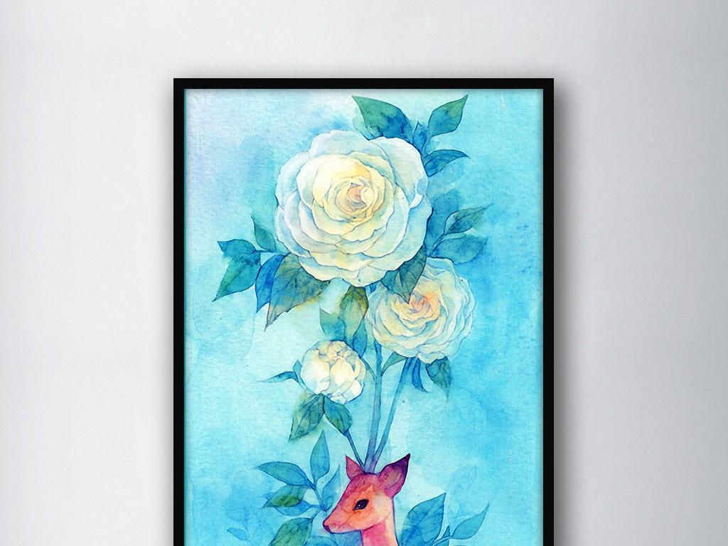 麋鹿牡丹花手绘清新水彩画唯美家居装饰画