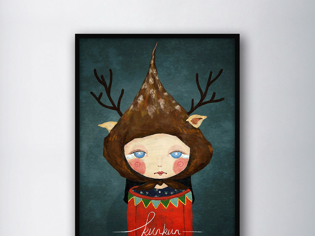 简约北欧麋鹿传说欧式手绘水彩家居装饰画