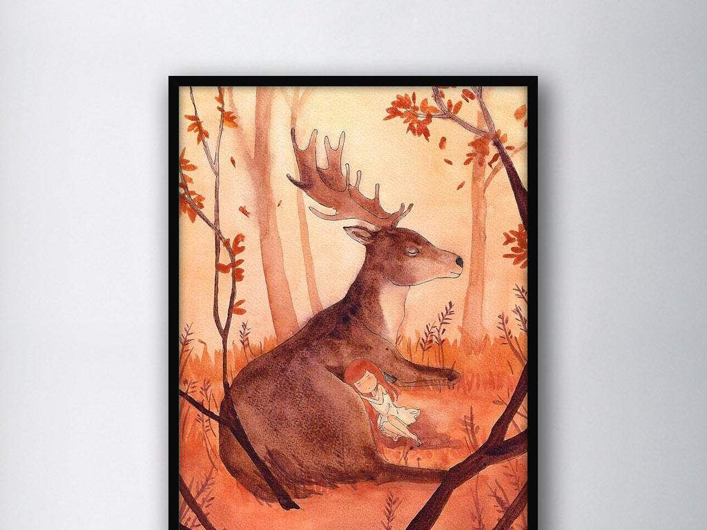 麋鹿森林治愈系二次元手绘水彩家居装饰画