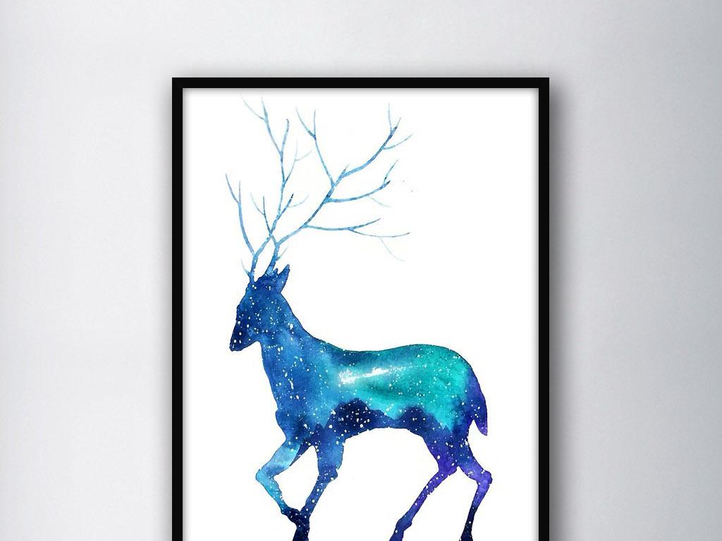 麋鹿圣诞老人麋鹿森林麋鹿