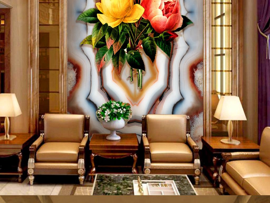 欧式大理石油画花卉布玄关背景
