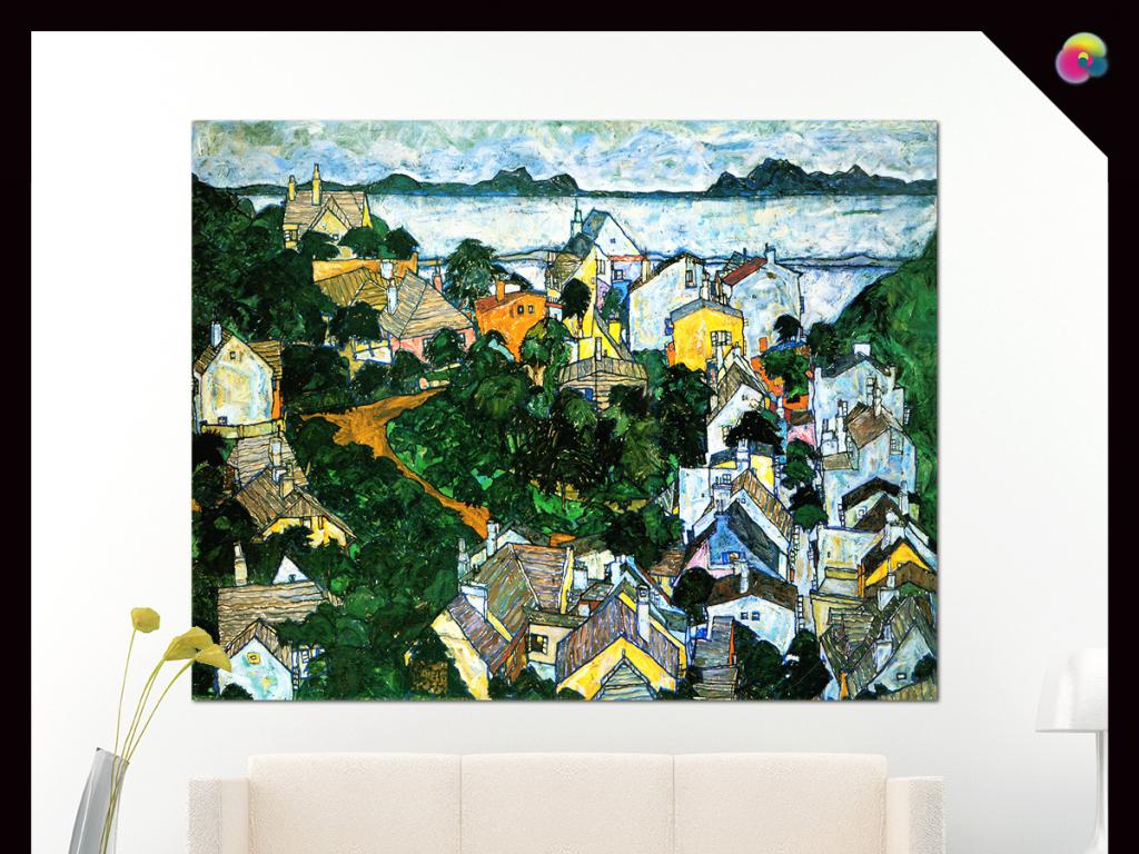 手绘现代抽象油画风景插画无框画玄关